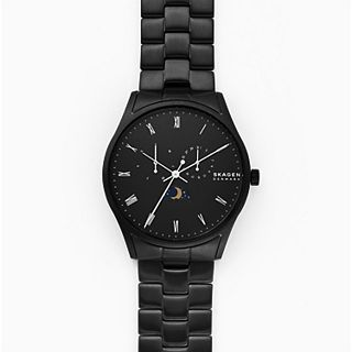 Holst Sun and Moon Multifunction Black Stainless Steel Watch