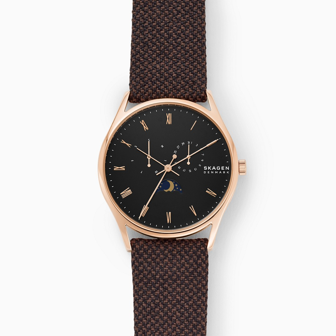 Holst Moonphase Multifunction Brown Nylon Watch  - SKW6572