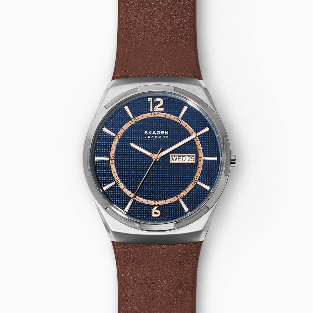 Melbye Three-Hand Day-Date Brown Leather Watch  - SKW6574