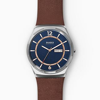Melbye Three-Hand Day-Date Brown Leather Watch
