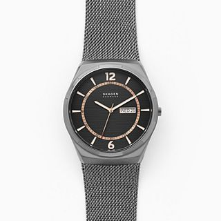 Melbye Three-Hand Day-Date Gunmetal Steel-Mesh Watch