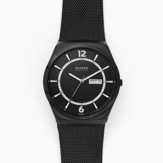Melbye Three-Hand Day-Date Black Steel-Mesh Watch