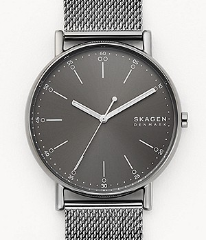 Signatur Three-Hand Gray Steel-Mesh Watch