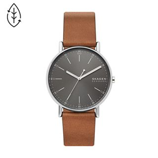 Signatur Three-Hand Brown Leather Watch