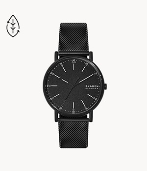 Signatur Three-Hand Black Steel-Mesh Watch