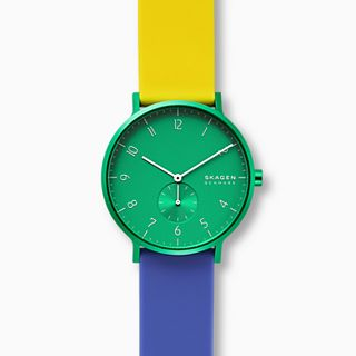 Aaren Kulor Color Blocked 41mm Watch, Green Dial