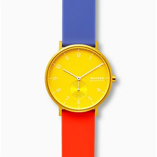 Aaren Kulor Color Blocked 41mm Watch, Yellow Dial