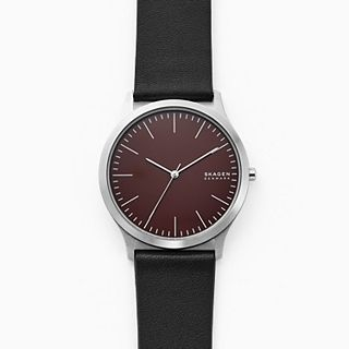 Jorn Three-Hand Black Leather Watch