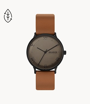 Nillson Three-Hand Brown Leather Watch