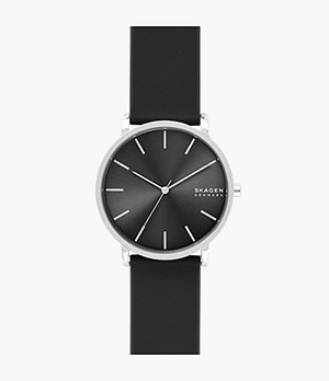 Hagen Three-Hand Black Silicone Watch