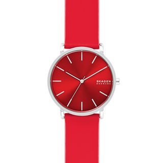 Hagen Three-Hand Red Silicone Watch