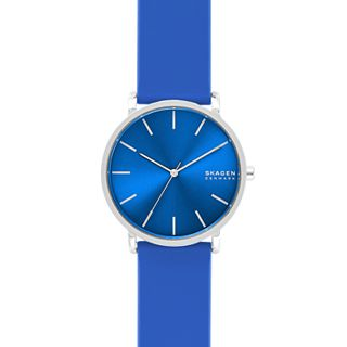 Hagen Three-Hand Blue Silicone Watch