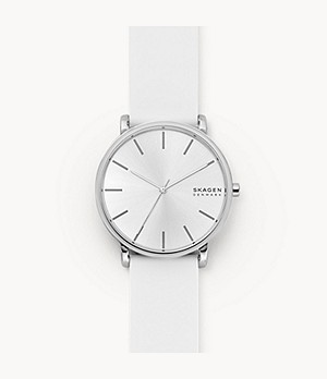 Hagen Three-Hand White Silicone Watch