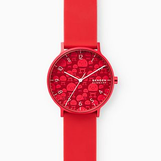 Hoptimist x Skagen Aaren Three-Hand Print Red Silicone 41mm Watch