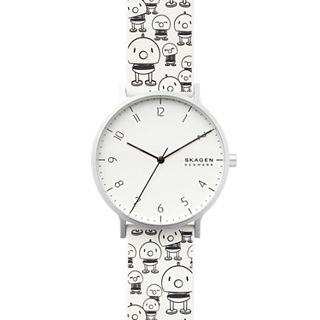 Hoptimist x Skagen Aaren Three-Hand Print White Silicone 41mm Watch