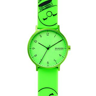 Hoptimist x Skagen Aaren Three-Hand Print Green Silicone 41mm Watch