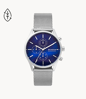Holst Chronograph Silver-Tone Steel-Mesh Watch