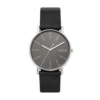 Signatur Three-Hand Black Leather Watch