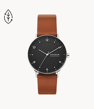 Riis Three-Hand Brown Leather Watch