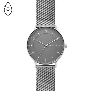 Riis Three-Hand Silver-Tone Steel-Mesh Watch