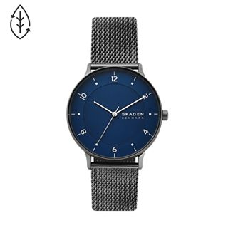 Riis Three-Hand Gunmetal Steel-Mesh Watch