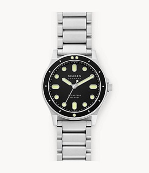 Fisk Three-Hand Silver-Tone Stainless Steel Watch