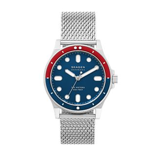 Fisk Three-Hand Silver-Tone Steel-Mesh Watch