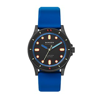 Fisk Three-Hand Blue Silicone Watch
