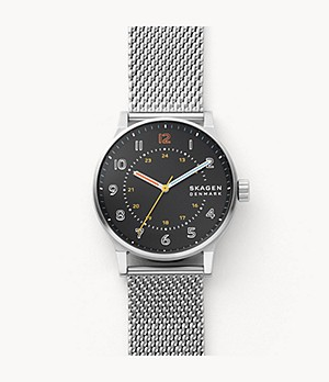 Norre Three-Hand Silver-Tone Steel-Mesh Watch