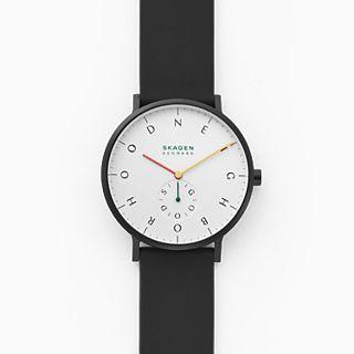 Skagen x Neighborhood Goods Aaren Three-Hand Black Silicone 40mm Watch