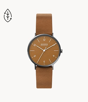 Aaren Naturals Three-Hand Cognac Leather Alternative Made With Apple Watch