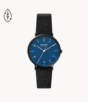 Aaren Naturals Three-Hand Black Leather Alternative Made With Mulberry Watch