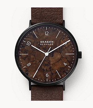 Aaren Naturals Three-Hand Brown Leather Alternative Made With Mulberry Watch