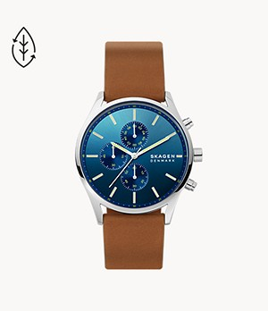 Montre chronographe en cuir brun Holst