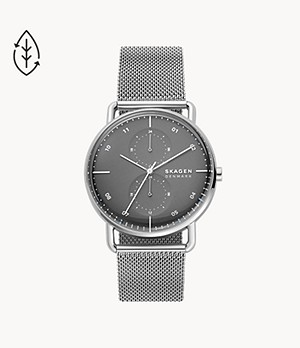 Horizont Dual Time Silver-Tone Steel-Mesh Watch