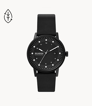 Henricksen Solar-Powered Black Eco Leather Watch