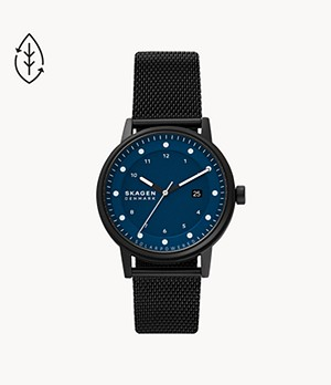 Henricksen Solar-Powered Black-Tone Steel-Mesh Watch