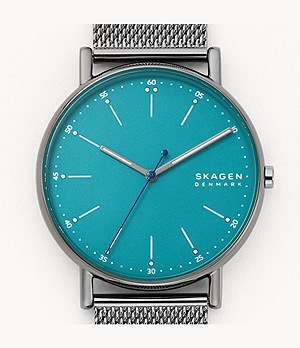 Signatur Three-Hand Gunmetal-Tone Steel-Mesh Watch