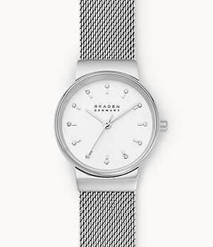 Ancher Three-Hand Silver-Tone Steel-Mesh Watch