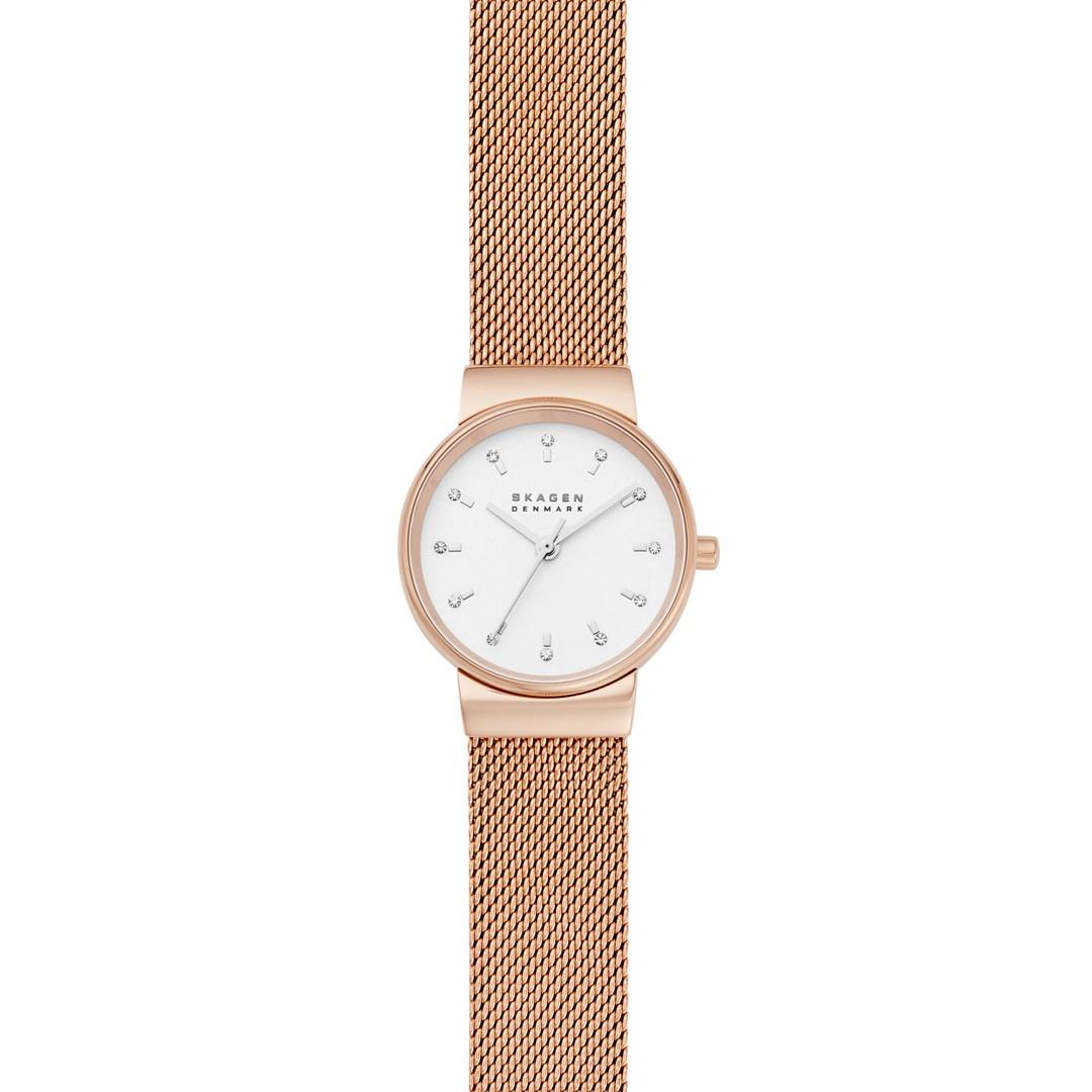 Ancher Three-Hand Rose-Tone Steel-Mesh Watch  - SKW7201