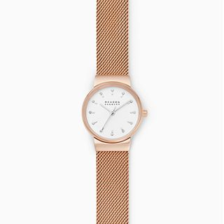 Ancher Three-Hand Rose-Tone Steel-Mesh Watch