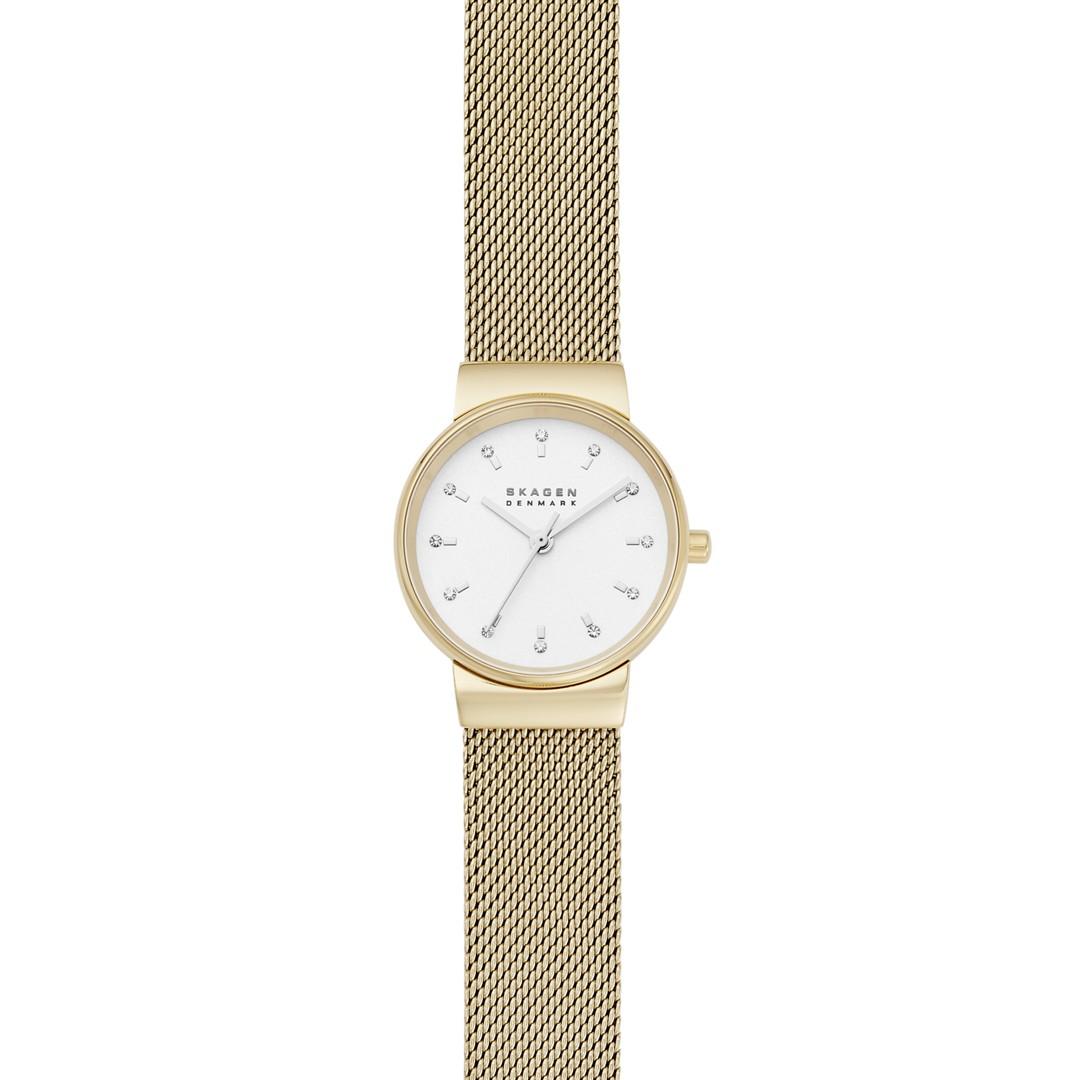 Ancher Three-Hand Gold-Tone Steel-Mesh Watch  - SKW7202