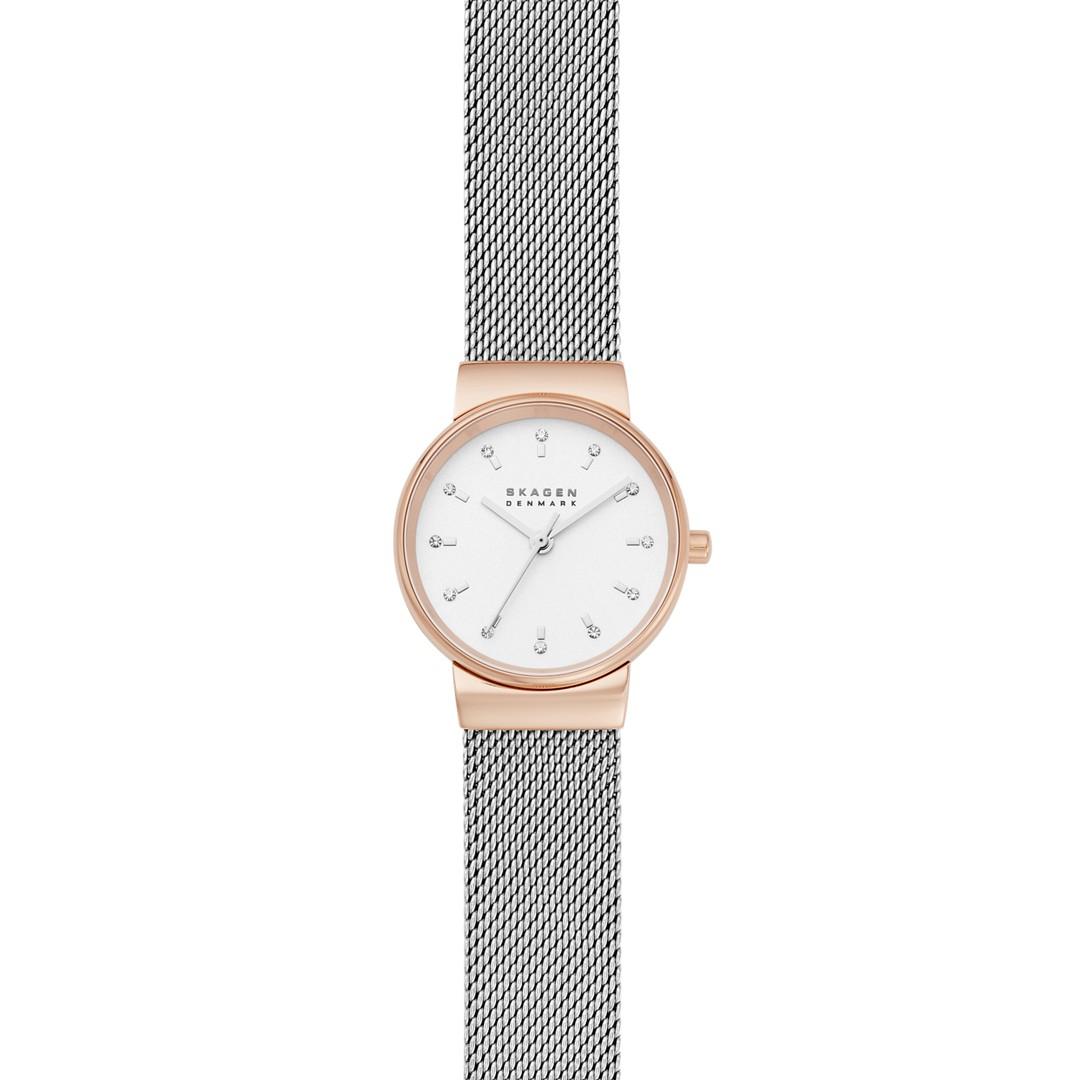 Ancher Three-Hand Silver-Tone Steel-Mesh Watch  - SKW7203