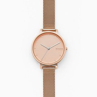 Hagen Three-Hand Rose-Tone Steel-Mesh Watch