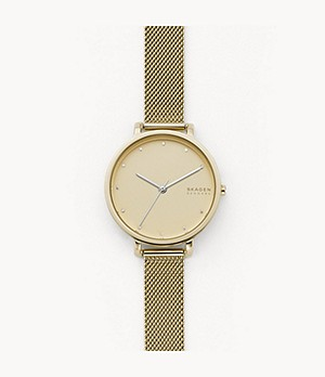 Hagen Three-Hand Gold-Tone Steel-Mesh Watch
