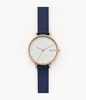 Hagen Three-Hand Blue Leather Watch