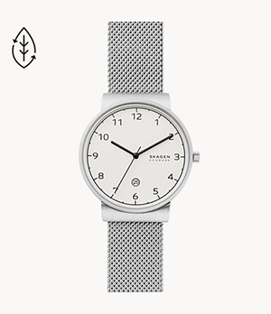 Ancher Three-Hand Date Silver-Tone Steel-Mesh Watch