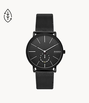 Hagen Three-Hand Black Steel-Mesh Watch