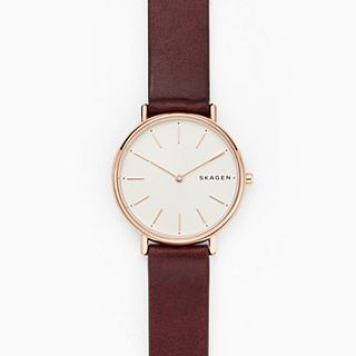 Signatur Slim Red Leather Watch