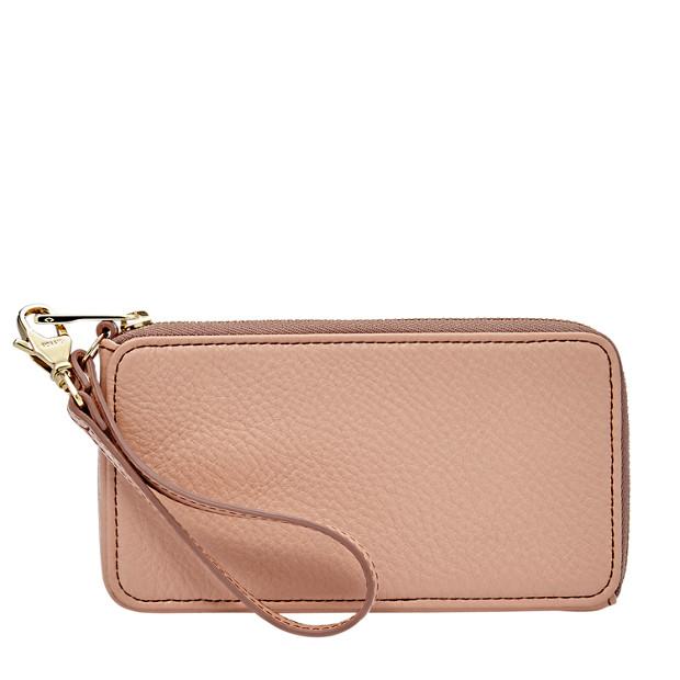 Leather Zip Phone Wristlet